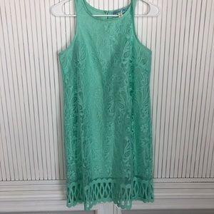 Turquoise Lace Shift Dress- summer dress